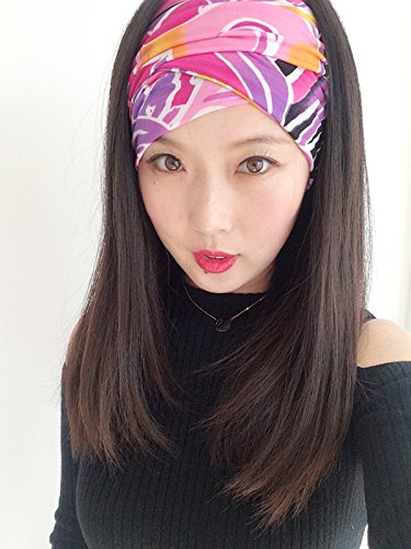 (usongs hair band hair accessories headdress women girls personality wide-brimmed hair bands Lycra casual jacket collars and empty top hat)