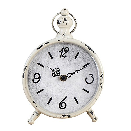 (CKLT Creative European Style Antique Retro Iron Craft Home Decor Table/Desk Clock (White) )