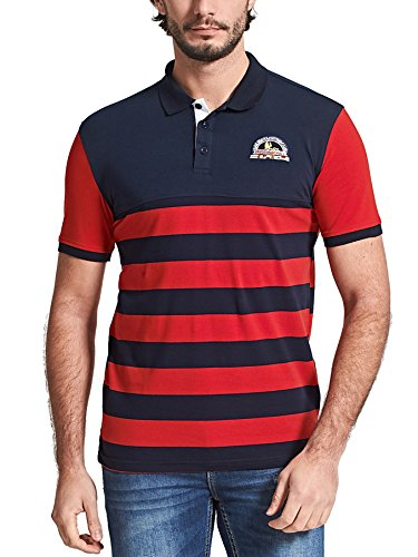 Neleus Men's Striped Short Sleeve Cotton Polo Shirts,623,Dark Blue & Red,XL,EUR Tag 3XL