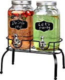 Estilo EST3095 Embo Glass Mason Jar Double Drink Dispenser with Leak Free Spigot On Metal Stand With Embossed Chalkboard and Chalk, Clear 1 Gallon
