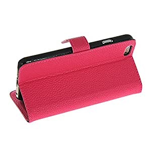 Waltzmart Litchi Skin Flip Leather Wallet Card Pouch Stand Back Case Cover For Apple iPhone 6 Hotpink