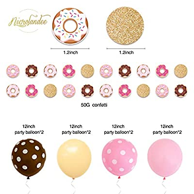 NICROLANDEE Donut Party Supplies Donuts Grow Up Birthday Party Banners Balloons Glitter Confetti Hanging Paper Lantern Tissue Fans For Baby Shower Kids Party Decor (Pink Chocolate Color): Toys & Games