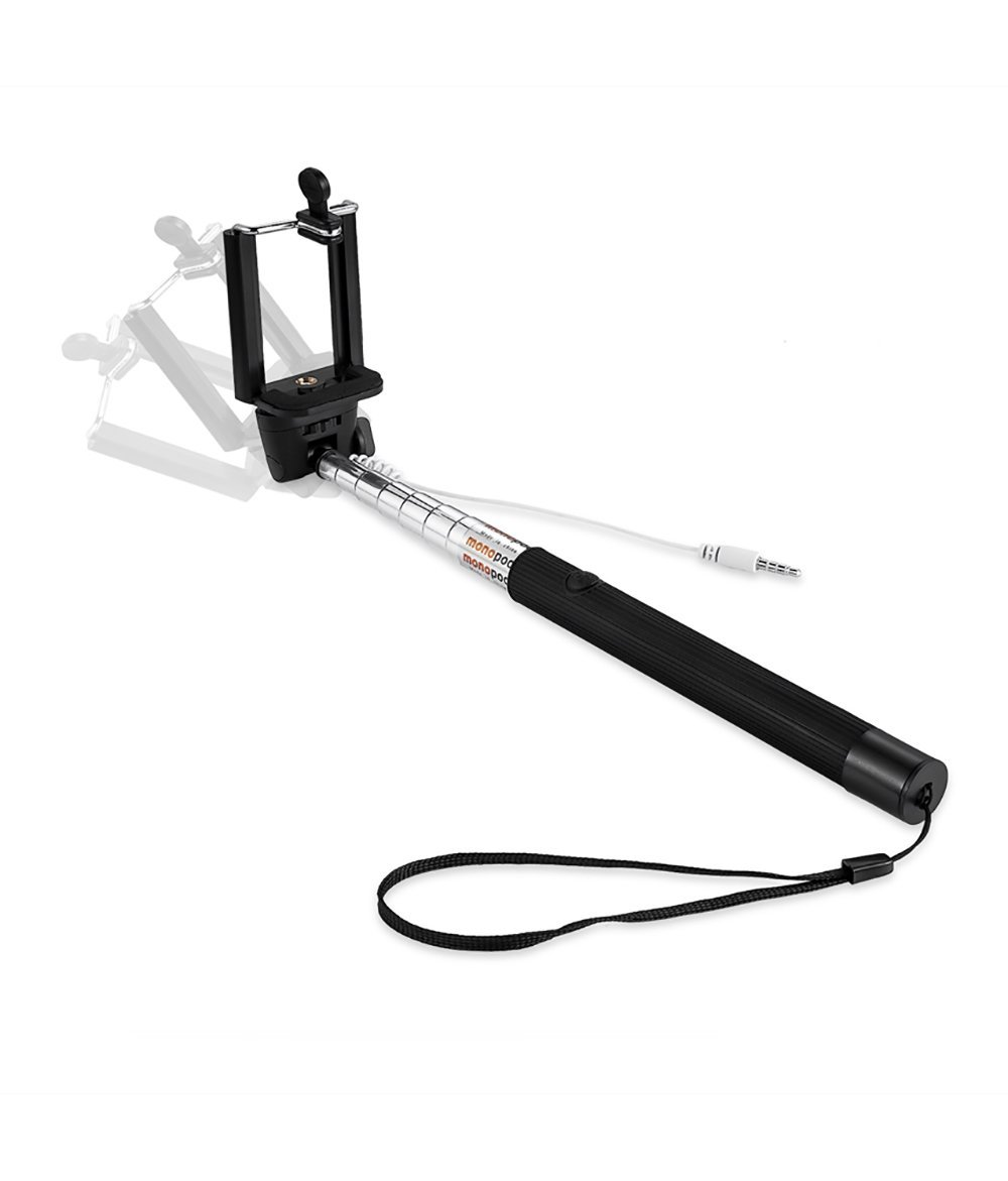 Evana Compact Pocket Size Selfie Stick Wired for iPhone and Android Aux Cable Monopod Premium Series for Iphone, Android, window phone, No bluetooth