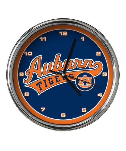 Tigers Wall Clock - Auburn Chrome Clock