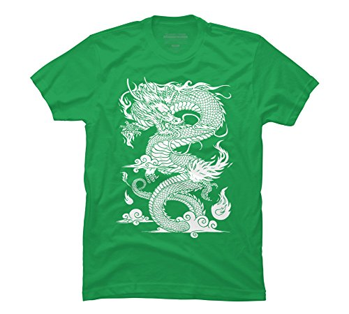 Design By Humans Chinese Dragon Illustration (Clean Men's Large Kelly Green Graphic T Shirt