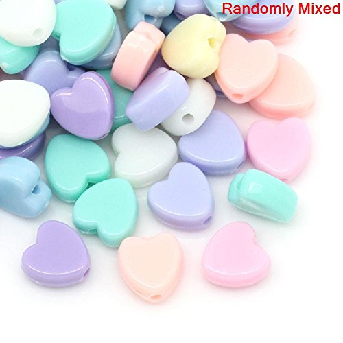 Acrylic Pastel - 600 Pastel Acrylic Heart Beads Assorted Pastel Colors 8mm or 3/8 Inch Diameter with 1.5mm Hole