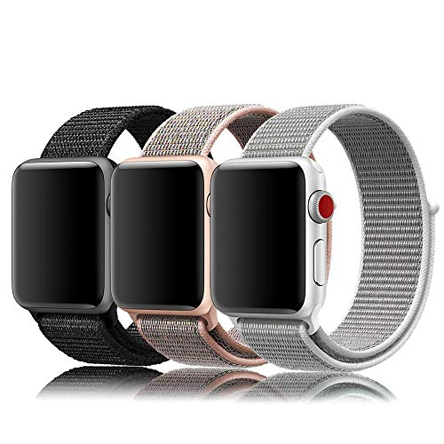 r Apple Watch Sport Loop Band 42mm, Lightweight Breathable Nylon Replacement Band Compatible for Apple Watch Series 1, Series 2, Series 3, Sport, Edition-3 Pack F ()