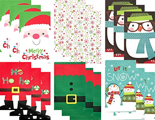 Christmas Holiday Party Favor Paper Treat Bags - 6 Designs - 36 Total Bags (Christmas Direct Paper)