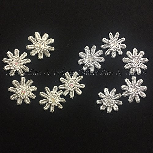 (50 Pieces, Layered Daisy Applique Motif with Iridescent Sequin and Bead Center, Ivory. 2