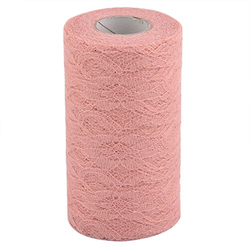 uxcell Lace Wedding Party Banquet Hall DIY Decor Tulle Spool Roll 6 Inch x 25 Yards Coral Pink