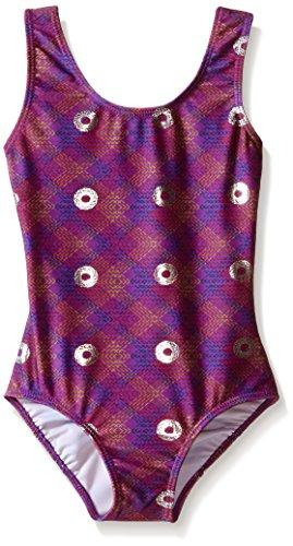Danskin Big Girls' Gymnastics Leotard, Purple Spiral, X-Large (14/16)