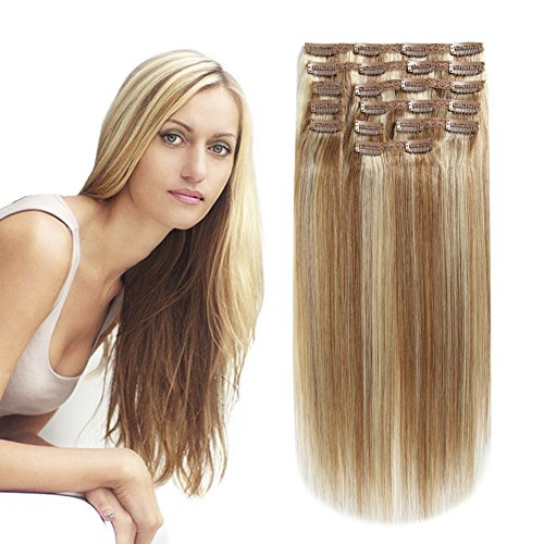 HEESAGA Clip in Hair Extensions Real Human Hair for Women Beauty 20 Inch 200 Grams/7.1 Ounce 10 Pieces with 22 Clips per Set (#12/613 Light Golden Brown/Bleach Blonde)