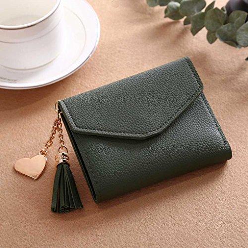 à Green monnaie titulaire sac porte de femme main Tassel Portefeuille YUYOUG porte cartes Portefeuille filles femmes court pour les qfwUFxCn
