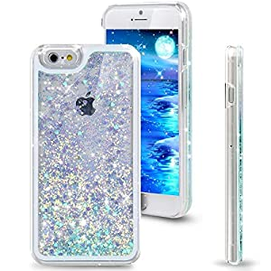 Rinastore iPhone 6s case,iphone 6 case,Creative Design Flowing Quicksand Moving Love Heart Bling 3D Glitter Floating Dynamic Flowing Case Liquid Cover for Iphone 6 4.7inch (Green heart )