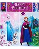 """Disney Frozen Birthday Party Scene Setters Wall Decorating Kit (5 Pack), Multi Color, 59"""" x 65""""."""