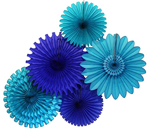 Tissue Paper Fan Collection - 5 Large Assorted Fans (Blue Skies - Turquoise, Dark Blue, 18 and 13 inches) Ornaments Flat Paper