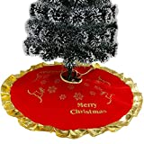 Highpot Red Christmas Tree Skirt with Golden Ruffle Edge Snowflakes Reindeer Design Christmas Tree Decorations Skirts Festive Holiday Decorations (B)