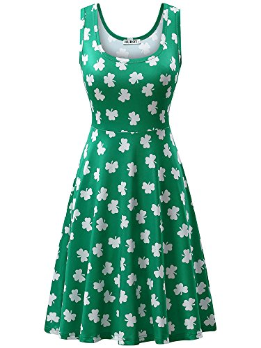 HUHOT Green Print Dress for Saint Patric Day Clover Large -