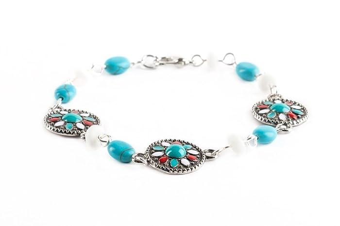 Amazon.com: Metal Enamel Glass White Turquoise Stone Beaded ...