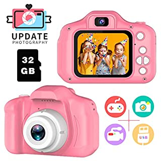 Toys for 3-6 Year Old Girls Pussan Kids Camera HD Digital Video Cameras for Toddler, Kids Selfie Camera, Toddler Small Cameras Christmas Birthday Gifts for Kids Portable Toy Pink