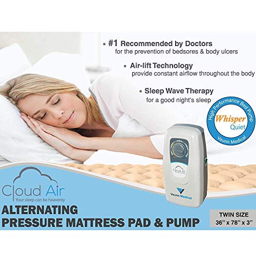 Vaunn Medical Cloud Air Whisper Quiet Alternating Air Pressure Mattress Topper with Pump (2019 Upgraded Model) Twin Size 36