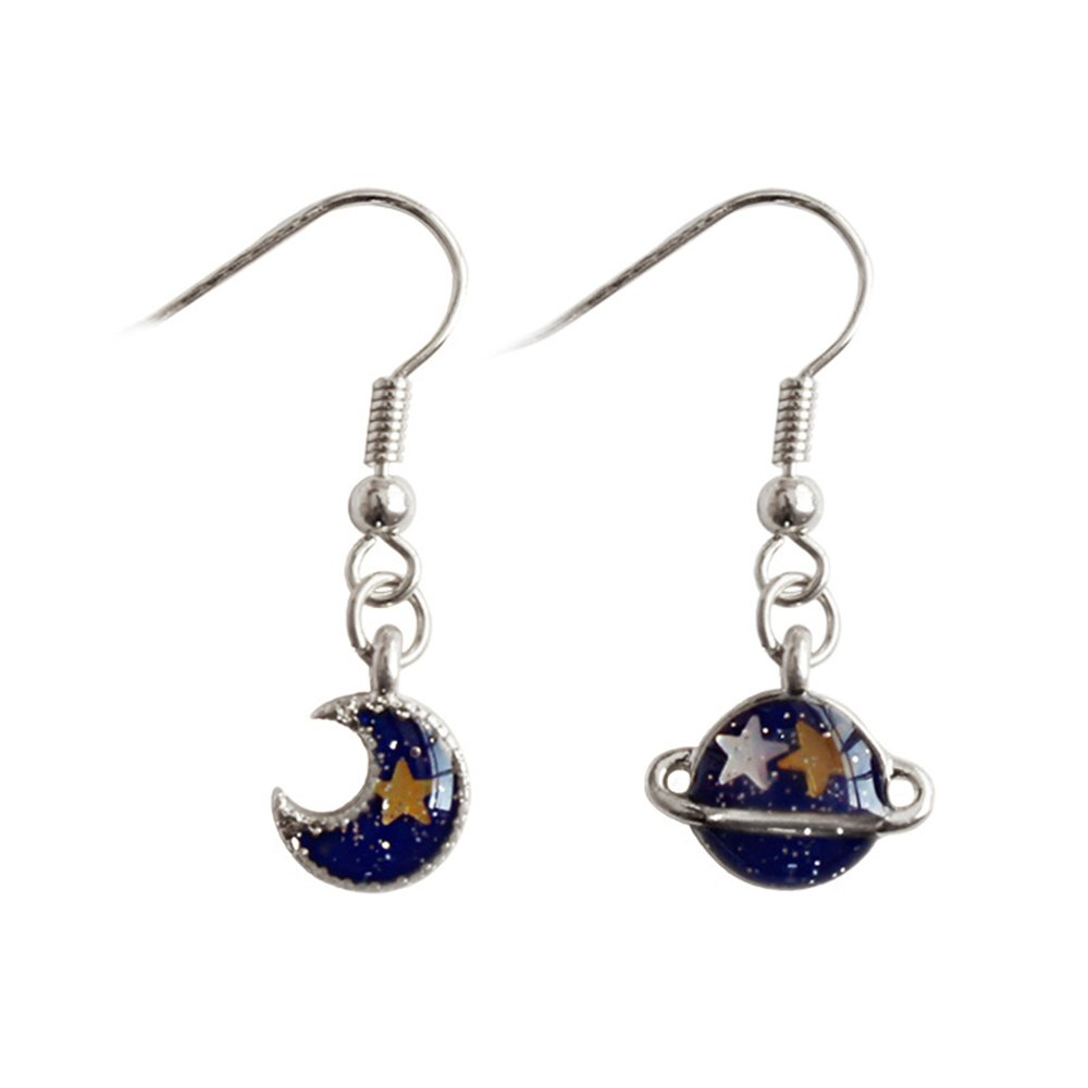 Tiny Sapphire Planet Earrings for Kids CHOA Cute Star Moon Earrings