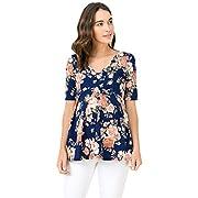 Hello MIZ Women's Floral and Polka Dot Pleated Peplum V Neck Maternity Top (Medium, Navy/Blush)