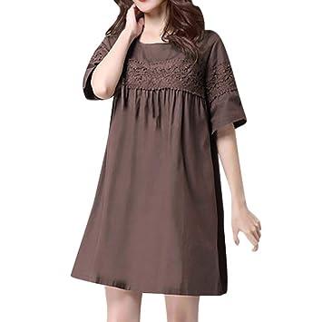 Vestido clásico de Encaje Sexy de Las Mujeres del cordón Flojo Ocasional de la Colmena de Volantes (Color : Café, tamaño : Large): Amazon.es: Hogar