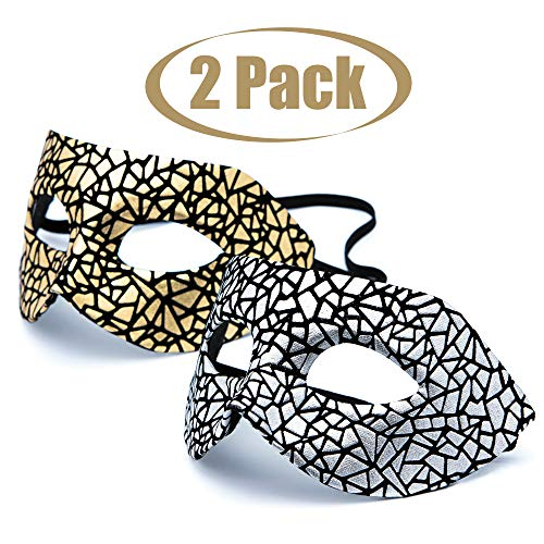 Origin Ice Exquisite High-end  Masquerade Masks Venetian Masks Costume Mask Mari Grass Party Mask for Couples Women and Men 2 Pack Black and Gold