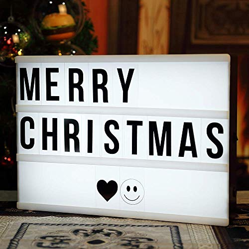 Cinema Light Box with 90 Letters, A4 DIY LED Cinematic Light Up Message Box Sign with Decorative Letters Emojis Symbols, Battery or USB Powerd for Christmas Home Decor Birthday Wedding Party