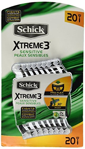 20 Schick Xtreme 3 Blade Sensitive Razor with Vitamin E & Aloe