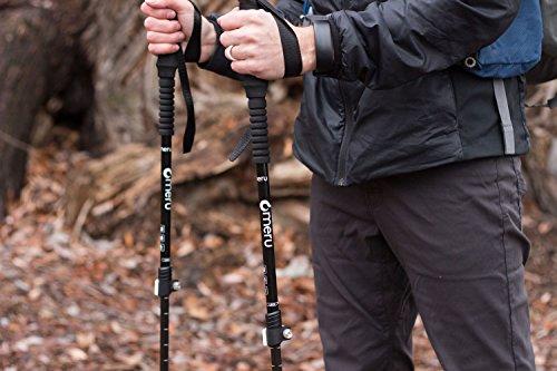 Carbon Fiber Trekking Poles for Ultralight Hiking / Backpacking - Adjustable Anti-Shock Alpenstock Walking Sticks w/ EVA Foam Handle (1 Pair)