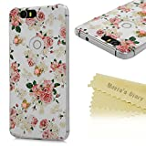 Google Nexus 6P Case - Mavis's Diary® 3D Handmade Bling Crystal Lovely Butterfly Shiny Sparkle Rhinestone Diamonds Pink Flowers Pattern Cover for Huawei Google Nexus 6P (2015) with Soft Clean Cloth
