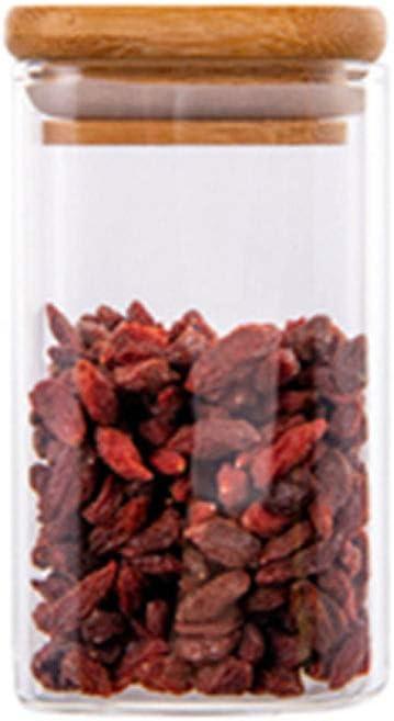 Frascos de vidrio cuadrados Recipiente para almacenamiento de alimentos con tapa Boca de botella gruesa de gran calibre Fuerte y duradera Fácil de tomar Adecuado para leche en polvo multig(Size:300ml)