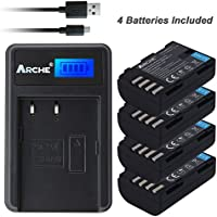 Arche DMW-BLF19 DMW-BLF19E DMW-BLF19PP <4 Pack> Battery LCD Single Slim Charger [Panasonic Lumix DMC-GH3, DMC-GH3A, DMC-GH3H, DMC-GH4, DMC-GH4H, DMC-GH5, DMC-GH5S]