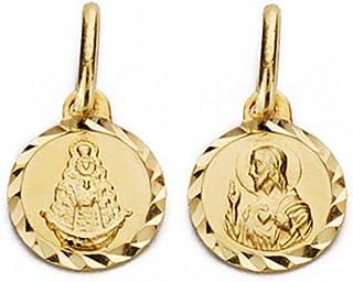 Médaille pendentif Scapulaire en or 18 carats Vierge Rocio 7mm Coeur de Jésus. [AA2592] Inmaculada Romero TM