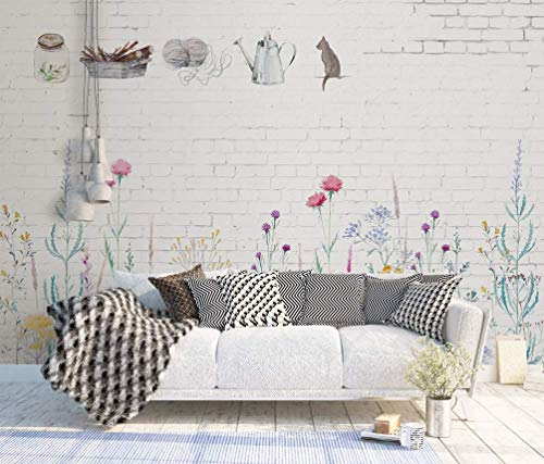 Murwall Watercolor Wallpaper Floral Wallpaper Colorful Plants Wall Print White Brick Wall Art Industrial Home Decor Cafe Design
