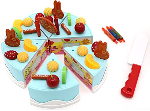 A toy cake set from Little Treasures with over thirty pieces including six full cake slices and elaborate toy fruit cake display pretend toy (Toy Birthday Cake Set)