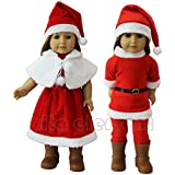 ZITA ELEMENT Doll Clothes- Santa Party Dress Gift Costumes Gown Clothes fit for American's Girl Doll and other 18 inches Doll Clothes for Xmas Gift