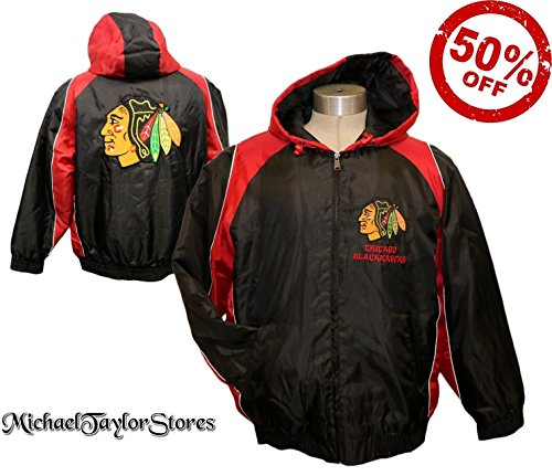 G-III Sports Chicago Blackhawks Full Zip Hooded Vintage Locker Jacket (Large, Black)