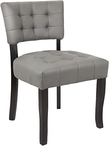 Homegear Oversized Tufted Faux Leather Accent Chair Grey