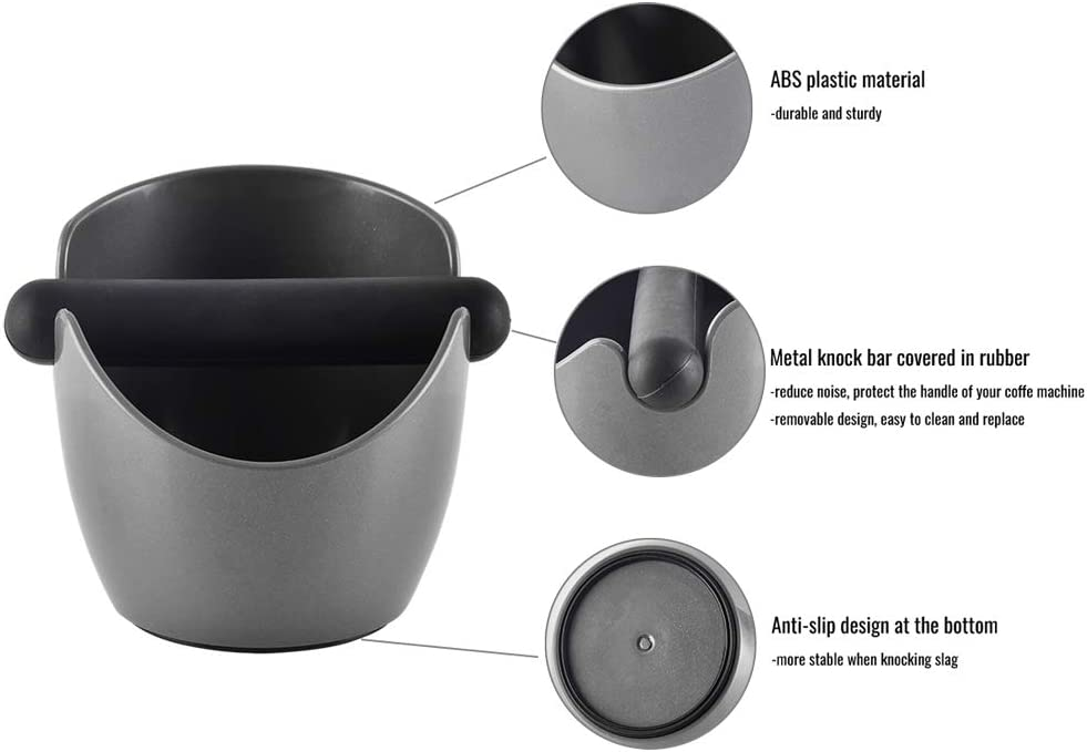 CAFEMASY Durable Stainless Steel Coffee Grind Knock Box with Removable Knock Bar and Non-slip Base Espresso Grounds Knock Box Mini