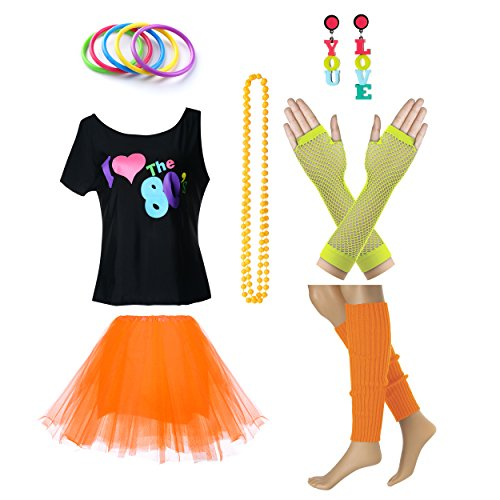 Women's I Love The 80's T-Shirt 80s Outfit Accessories(L/XL,Yellow) ()
