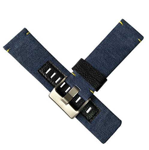 MSTRE 26mm Nylon and Calfskin Leather Watch Band Replacement Strap For Men's Diesel Watches (Blue) by MSTRE (Image #2)