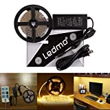 LEDMO LED Light Strip, SMD 2835 Warm White 3000K LED Strip Lights, Dimmable, Non-Waterproof, DC12V 600LEDs 16.4Ft LED Ribbon,LED Tape Ribbon,Decoration Led Ribbon With Power Supply