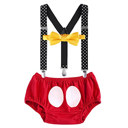 Baby Boys Birthday Party Cake Smash Outfit Adjustable Y-Back Suspender Shorts Bowtie 3PCS Photo Props Clothes Set Red -