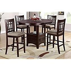 Poundex F2345 & F1205 Brown Finish with Beige Fabric Counter Height Dining Set