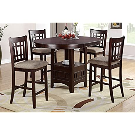 Poundex F2345 F1205 Brown Finish W Beige Fabric Counter Height Dining Set
