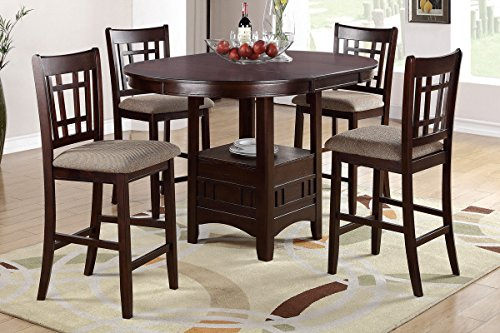 Poundex F2345 & F1205 Brown Finish W/Beige Fabric Counter Height Dining Set