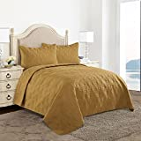 HollyHOME Collection 3 Pieces Luxury Super Soft Solid Pattern Ice Flowers Embossed Bedding Quilt Set with 2 Pillowcases Gold, King